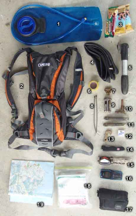 mountain bike bag's content